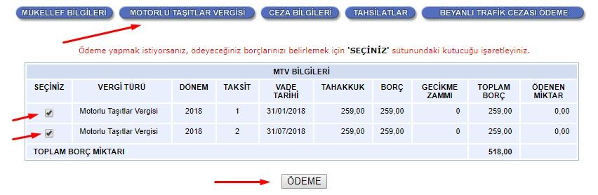 MTV Ödeme Seçme